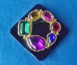 Click to view larger image of Faceted Crystal Mixed Glass Pin - Art Deco (Image3)