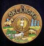 Click here to enlarge image and see more about item AAA225: Oklahoma Ceramic Souvenir Plate -