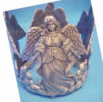Click here to enlarge image and see more about item AAA4278: Angel Metal Bottle Holder - Sculpture