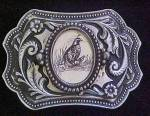Quail Metal Belt Buckle - Engraved