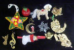 Click here to enlarge image and see more about item AAA494: Christmas Wire Basket w/Assorted Ornaments