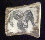 Vintage Ram Etched on Horn Belt Buckle