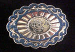 Belt Buckle - Blue/Silver-Toned - Floral