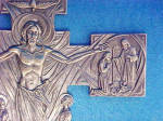 Click to view larger image of Crucifix/Christ Rising Pewter Colored Cross (Image4)