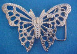 Click here to enlarge image and see more about item AAA612: Silver-Toned  Butterfly Belt Buckle