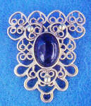 Click to view larger image of Gold-Toned Filigree w/Black Cabochon Pin (Image1)
