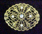 Click to view larger image of Moonstone Style Filigree Pin - Gold-Toned (Image1)