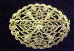 Click to view larger image of Moonstone Style Filigree Pin - Gold-Toned (Image2)