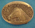 Click to view larger image of Brass Horses Head Belt Buckle - Vintage (Image1)