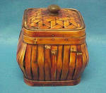 Click here to enlarge image and see more about item AAA727: Rattan Square Box - Lacquered/Vintage