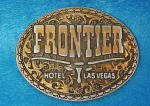 Click here to enlarge image and see more about item AAA737: Frontier Hotel Las Vegas Metal Belt Buckle