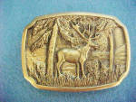 Click to view larger image of Elk Brass Belt Buckle - BTS Vintage (Image1)
