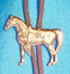 Click here to enlarge image and see more about item AAA785: Copper-Toned Standing Horse Bolo Tie