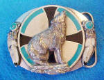 Click to view larger image of Howling Wolf Metal Belt Buckle - Siskiyou (Image1)