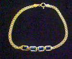 Click to view larger image of Gold Plated SS Bracelet w/Faceted Stones (Image1)