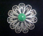 Click to view larger image of Turquoise Style Pin w/Lacey Silver Setting (Image1)