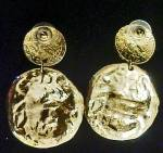 Click to view larger image of Double-Coin Style Earrings - Pierced Ears  (Image3)