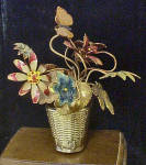 Metal Flower Filled Basket w/Butterfly