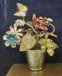 Click to view larger image of Metal Flower Filled Basket w/Butterfly (Image2)