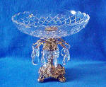 Click to view larger image of Pedestal Glass Shallow Bowl w/Crystals (Image5)