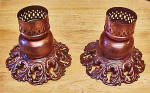 Click to view larger image of Pair Brass Washed Candle Holders (Image1)