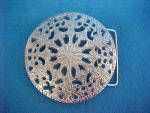 Click to view larger image of Floral Round Belt Buckle - Openwork Metal (Image1)