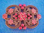 Click to view larger image of Metal Pink Beaded Floral Belt Buckle (Image1)
