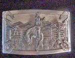 Click to view larger image of Bronco Bucking Cowboy - Metal Belt Buckle (Image1)