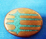 Click here to enlarge image and see more about item BB165: Western Turquoise/Brass Belt Buckle