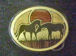 Click to view larger image of Pair of Horses Metal Belt Buckle (Image1)