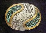 Click to view larger image of Western Turquoise/Floral Metal Belt Buckle (Image1)