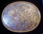 Click here to enlarge image and see more about item BB218: Floral Western Metal Belt Buckle