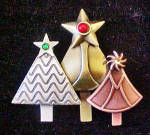 Click to view larger image of Christmas Tree Pin w/Three Treese (Image2)