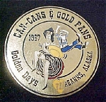 Click here to enlarge image and see more about item P106: Can-Cans & Gold Pans Alaska Pin