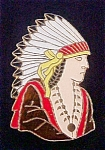 Click here to enlarge image and see more about item P115: Native American in Full Headdress Pin