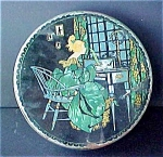 Click here to enlarge image and see more about item T545: Vintage Tin - Lady At Desk
