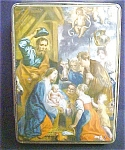 Click here to enlarge image and see more about item T557: Vintage Birth Of Christ - Tin w/Key
