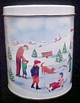 Click here to enlarge image and see more about item T653: Winter Family Scene Tin