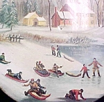 Click here to enlarge image and see more about item T671: Vintage Sleigh Riding Scenic Tin