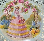 Period Lady In Flower Garden Tin Container
