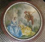 Click to view larger image of Vintage  Round Tin w/Period Scene (Image1)
