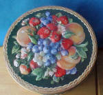Click to view larger image of Large Floral Tin Container w/Basket Weave (Image3)