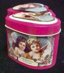Click to view larger image of Double Heart Christmas Tin w/Angel Theme (Image2)