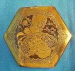 Click here to enlarge image and see more about item T816: ArtStyle Engraved Brass/Red Eamel Tin