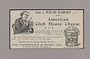 American Club-house Cheese Welsh Rarebit Ad