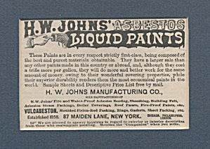 H.w. Johns Asbestos Liquid Paints Ad