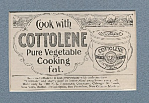 Cottolene Pure Vegetable Cooking Fat Ad