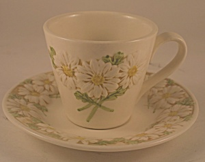 Metlox Sculptured Daisy Cup And Saucer