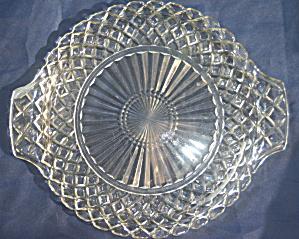 """Anchor Hocking """"Waffle"""" Handled Cake Plate (Image1)"""