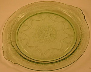 Green Anchor-Hocking Cameo Handled Cake Plate (Image1)